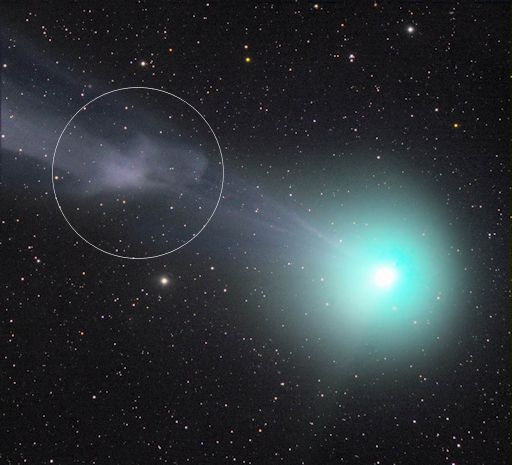 Italian photographer Rolando Ligustri used a remotely-controlled telecope in Spain to capture this 'plasma blob' billowing down the tail, away from the comet's core