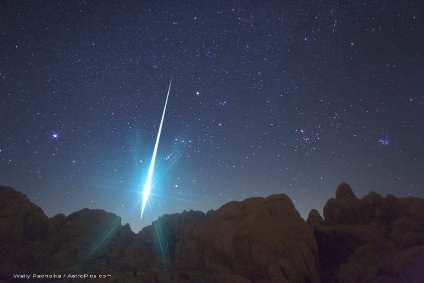 geminid over the mojave desert in 2009