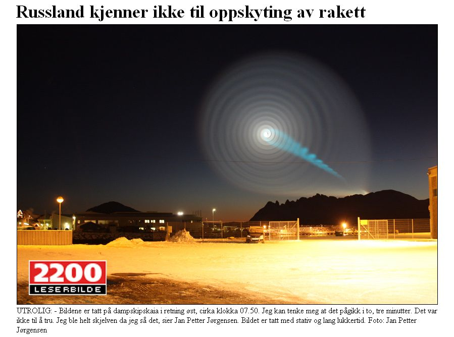 Himmelsspirale über Nord-Norwegen, Quelle: Spaceweather.com